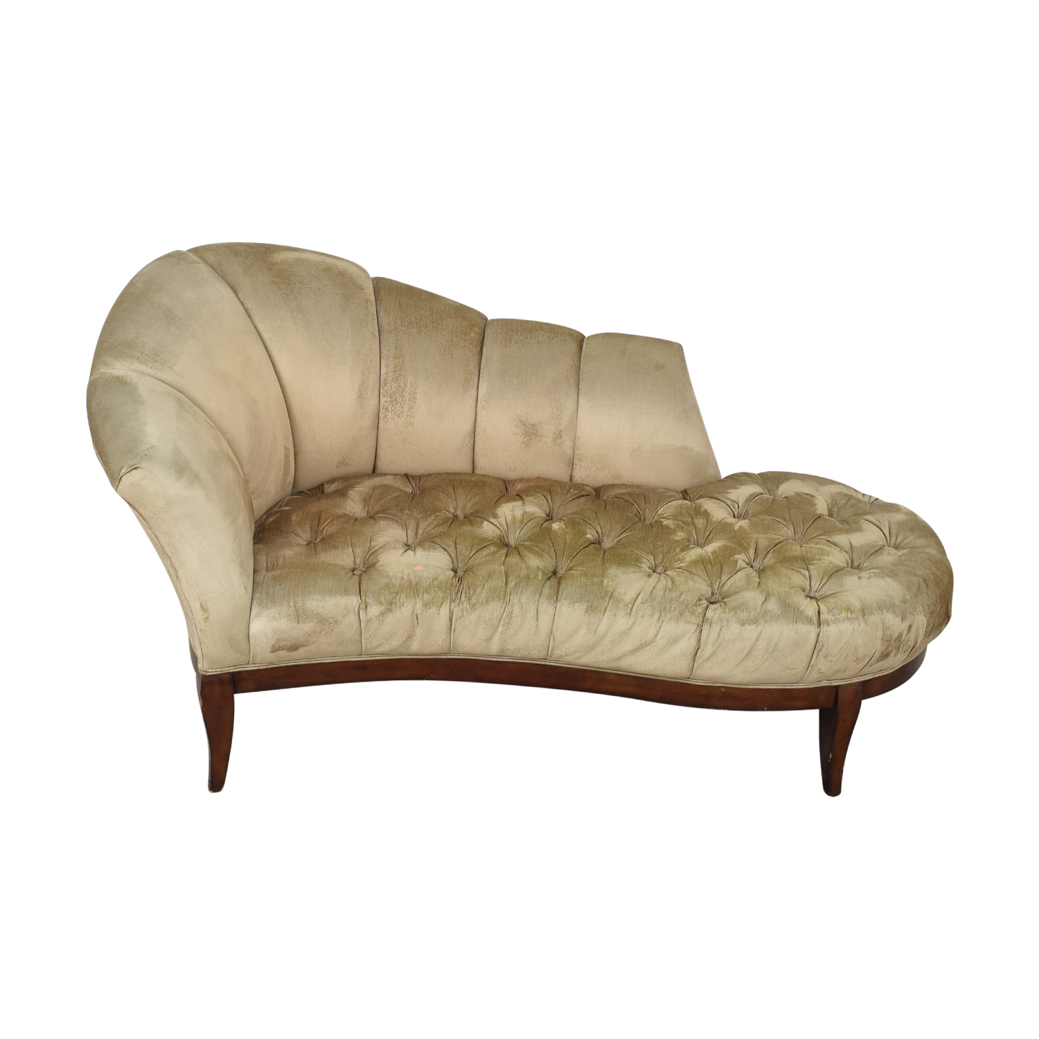shop Schnadig Pleated Tufted Traditional Chaise Schnadig
