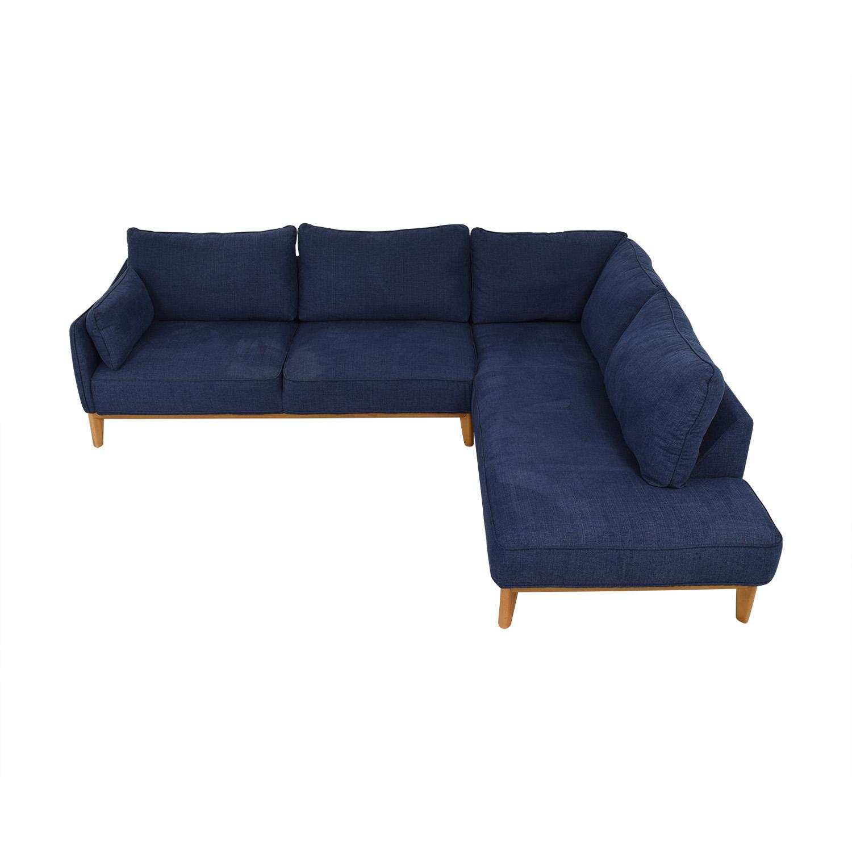 Macy's Macy's Jollene Two Piece Sectional Sofa dark blue