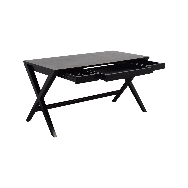 buy Crate & Barrel Spotlight Ebony X-Leg Desk Crate & Barrel Tables