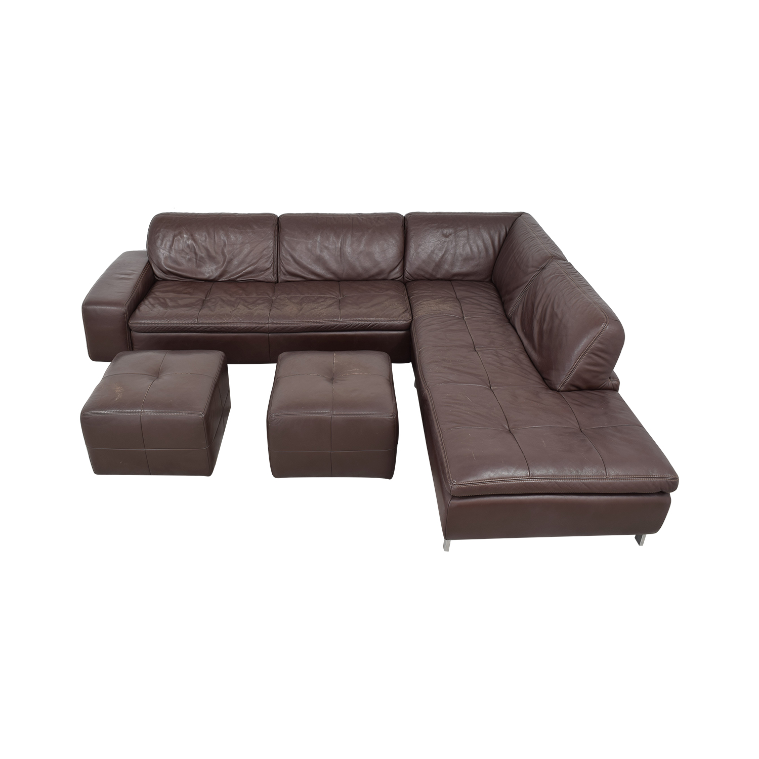 Bloomingdale's Bloomingdale's Sectional Sofa with Chaise and Ottomans nj