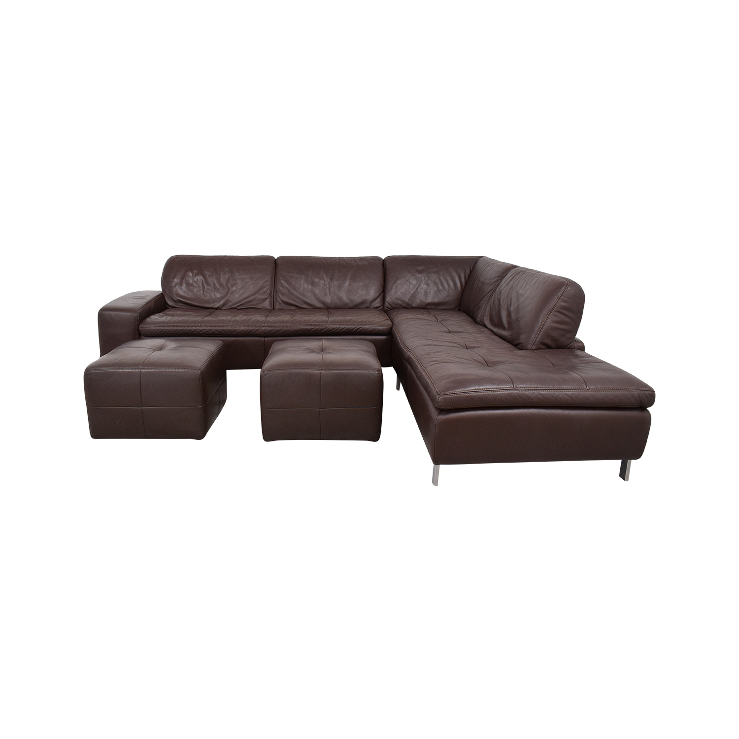Bloomingdale's Sectional Sofa with Chaise and Ottomans Bloomingdale's