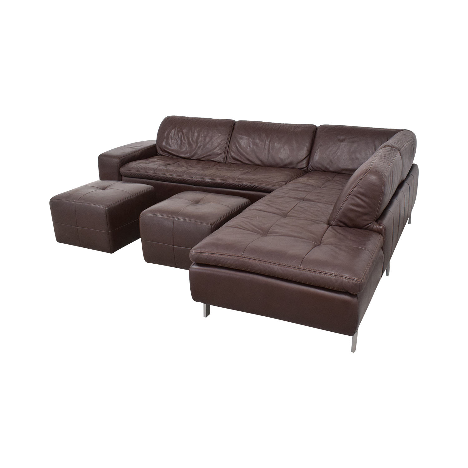shop Bloomingdale's Sectional Sofa with Chaise and Ottomans Bloomingdale's Sofas