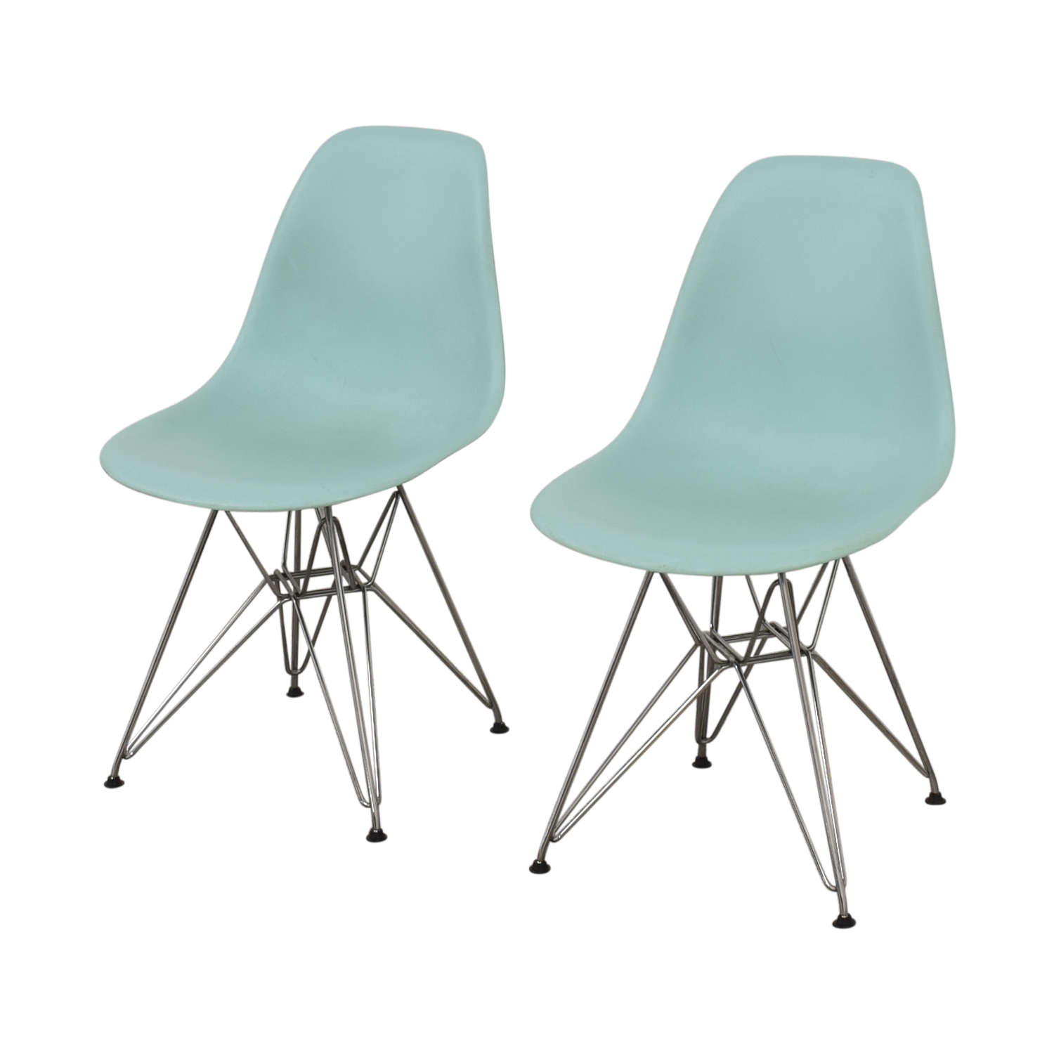 buy Herman Miller Eames Molded Plastic Side Chair with Wire Base Herman Miller Dining Chairs