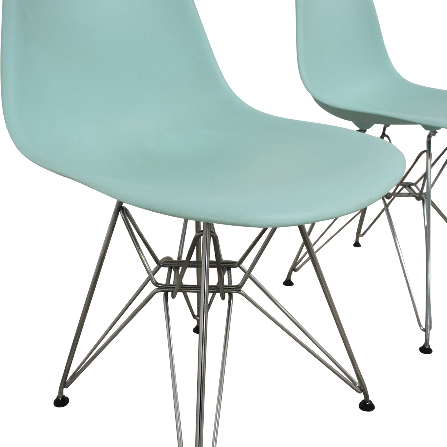 Herman Miller Herman Miller Eames Molded Plastic Side Chair with Wire Base blue