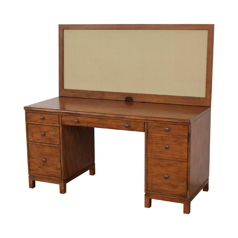 Ethan Allen Ethan Allen Hawke Double Pedestal Desk with Bulletin Board Home Office Desks