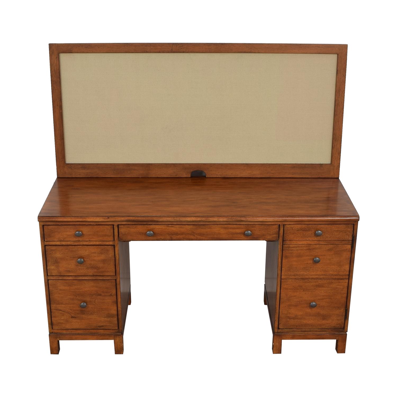 Ethan Allen Hawke Double Pedestal Desk with Bulletin Board sale