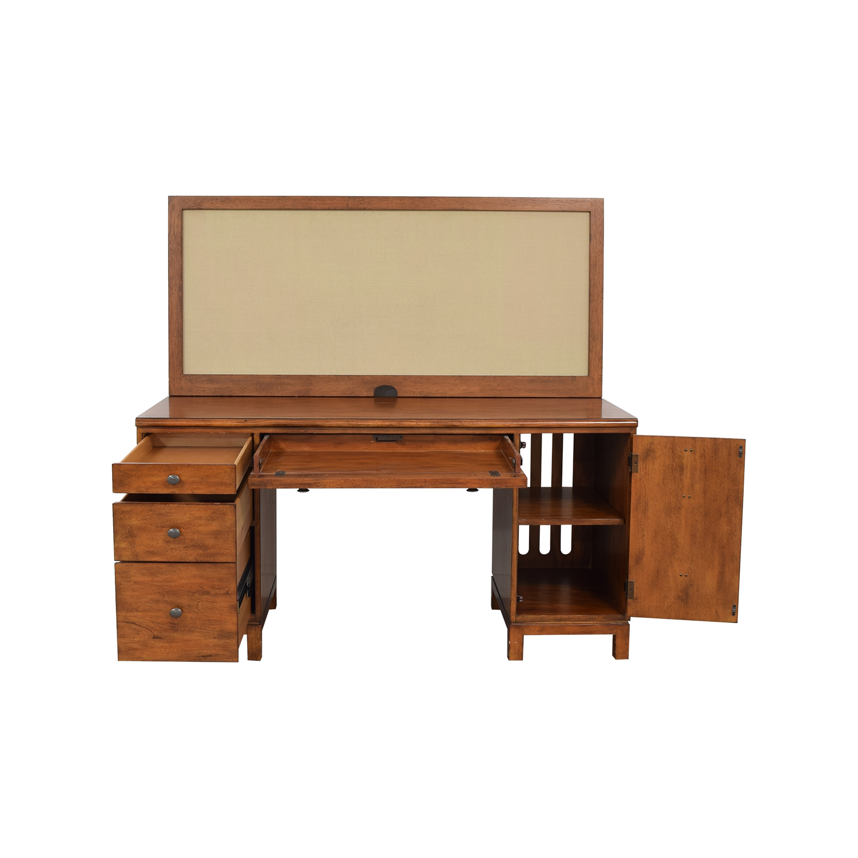 Ethan Allen Ethan Allen Hawke Double Pedestal Desk with Bulletin Board pa