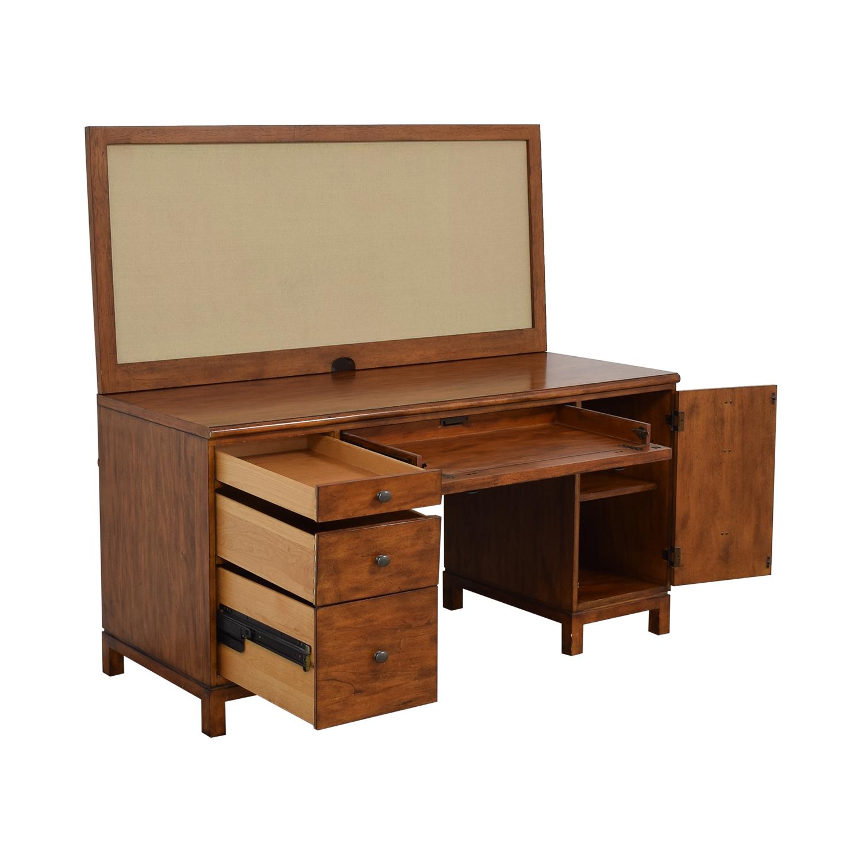 Ethan Allen Ethan Allen Hawke Double Pedestal Desk with Bulletin Board price