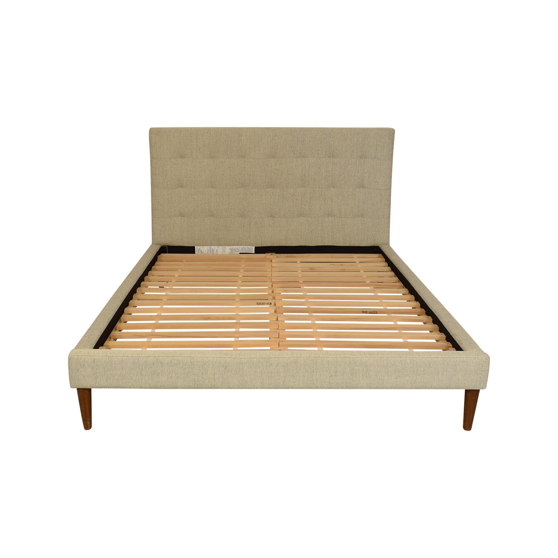 West Elm Grid Tufted Upholstered Queen Bed / Beds
