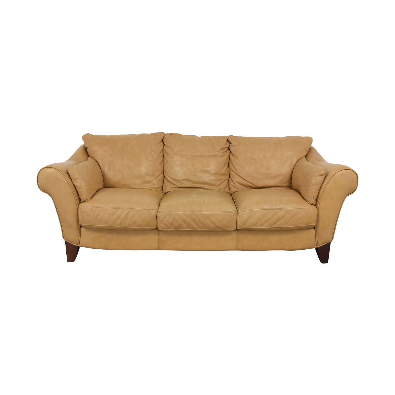 Three Cushion Roll Arm Sofa tan