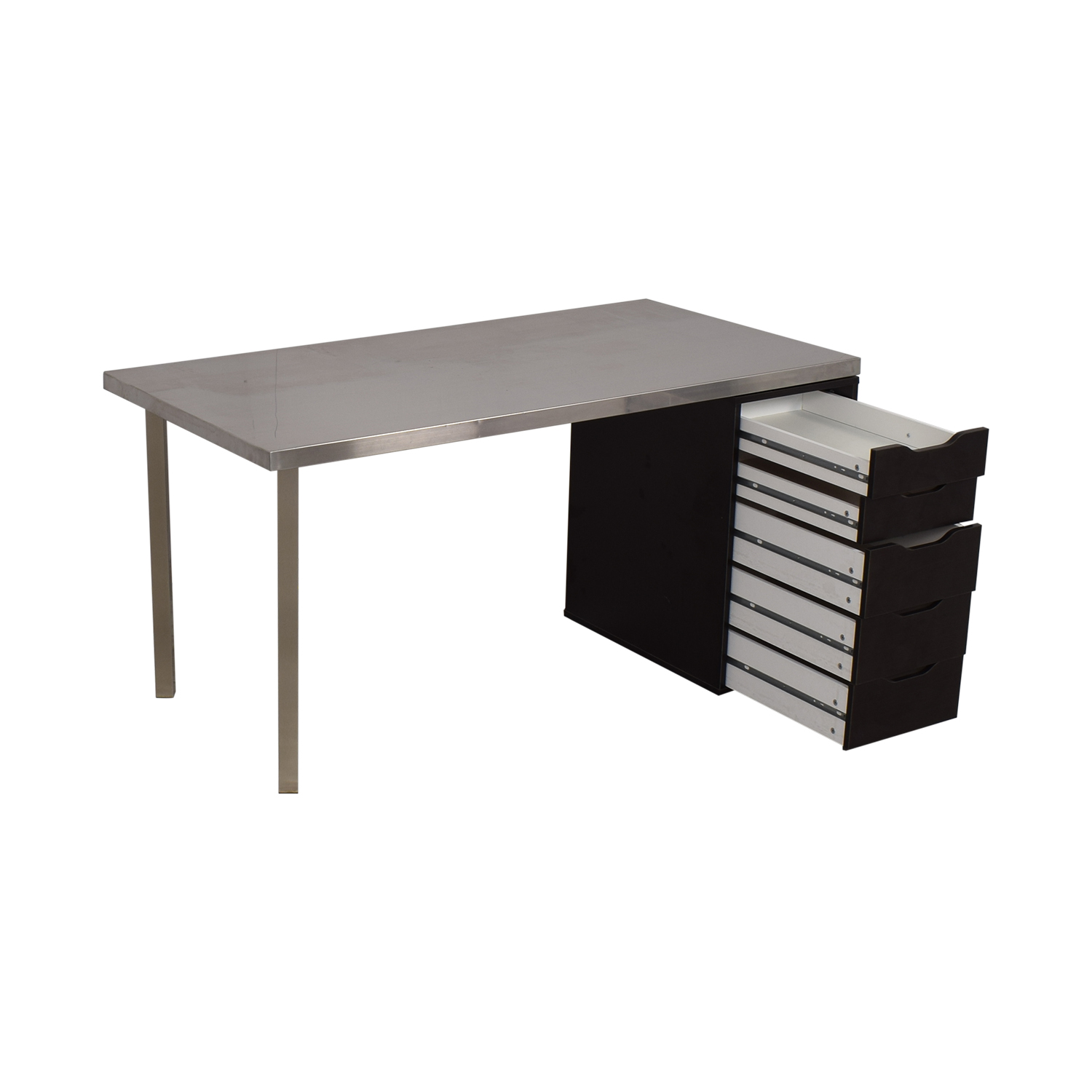 IKEA IKEA Sanfrid Stainless Steel Industrial Desk silver and black