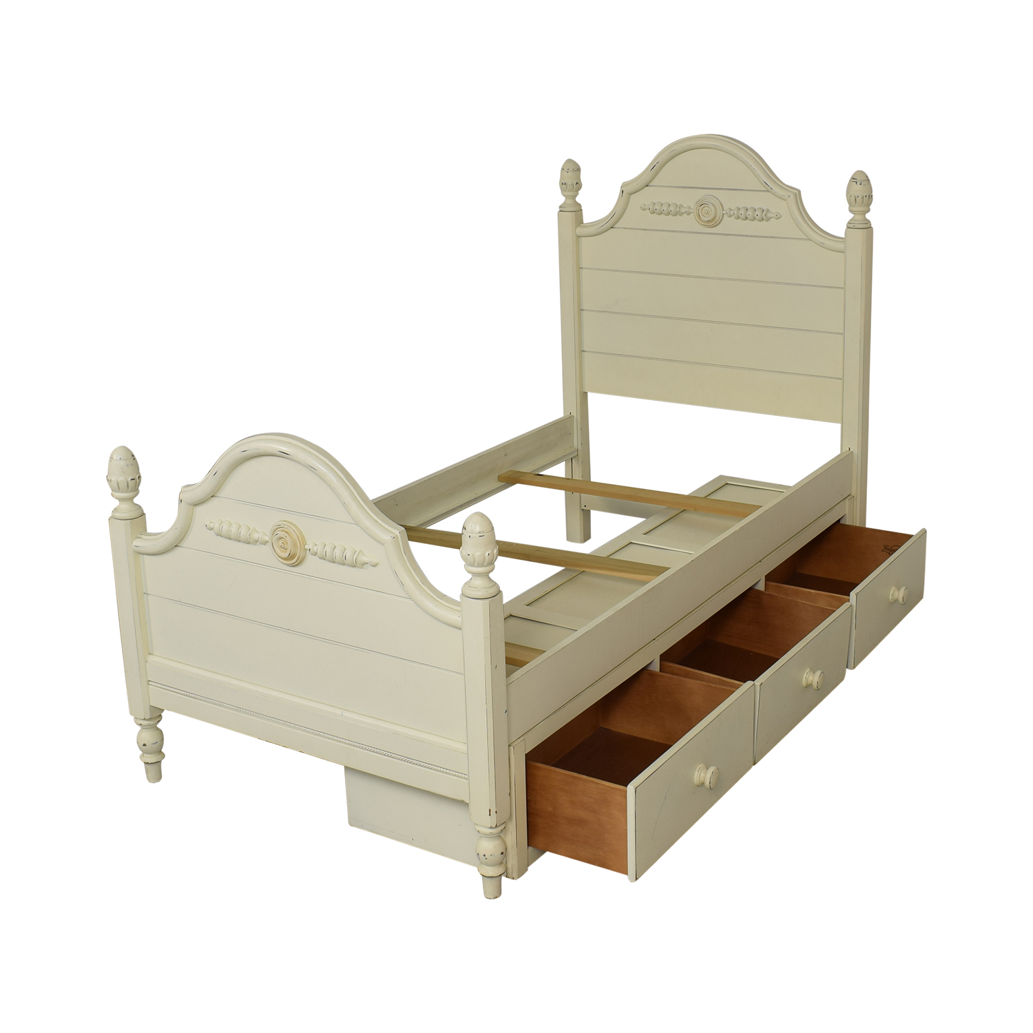 Lexington Furniture Distressed Twin Bed with Storage / Bed Frames