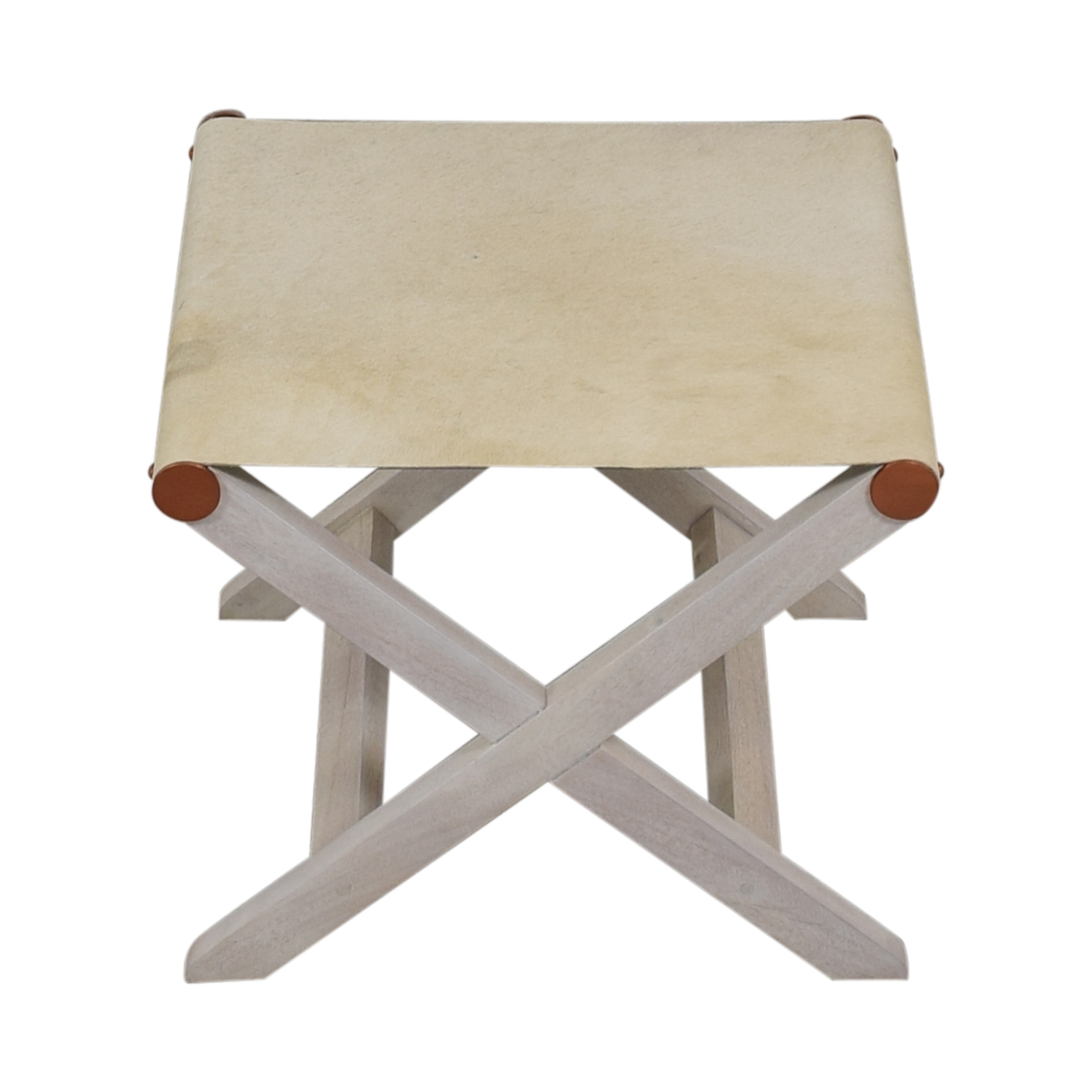CB2 CB2 Curator White Hide Stool used