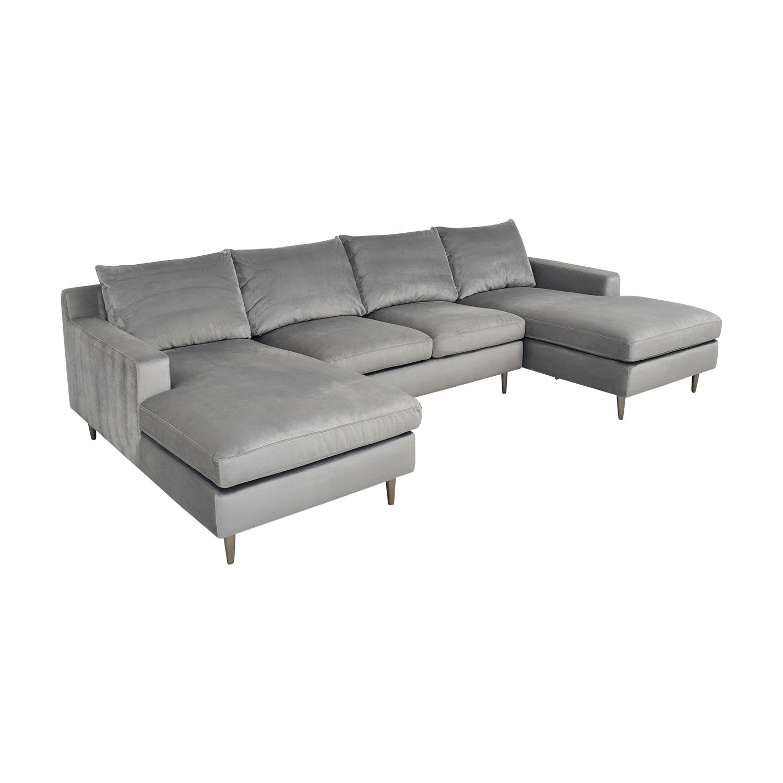 Interior Define Interior Define Sloan Suede U-Sectional Sofa light grey