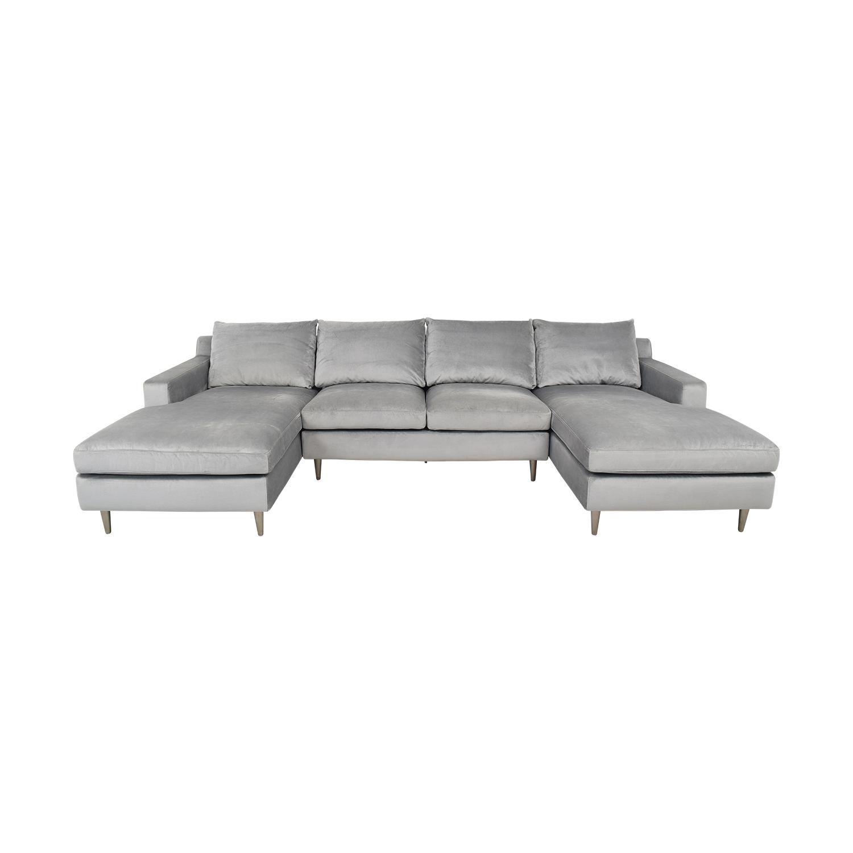 Interior Define Interior Define Sloan Suede U-Sectional Sofa