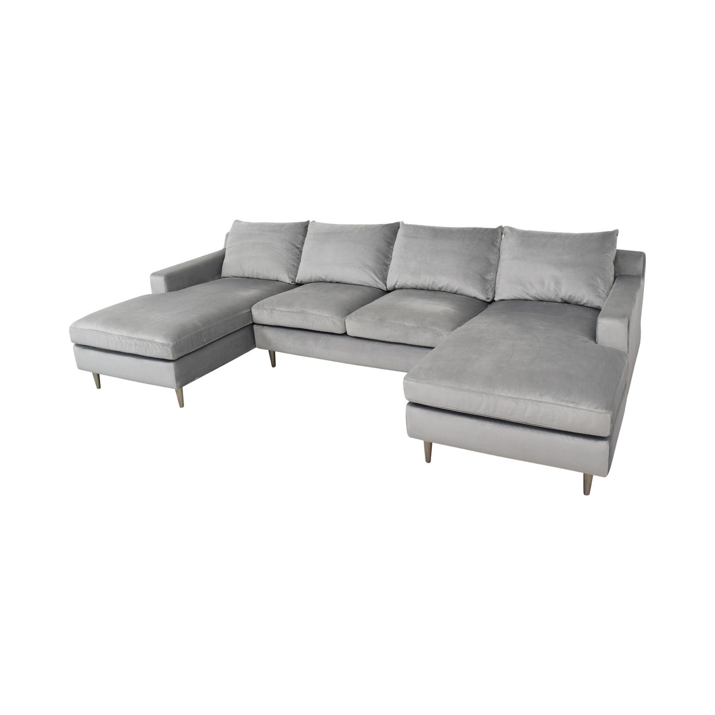 Interior Define Interior Define Sloan Suede U-Sectional Sofa Sectionals