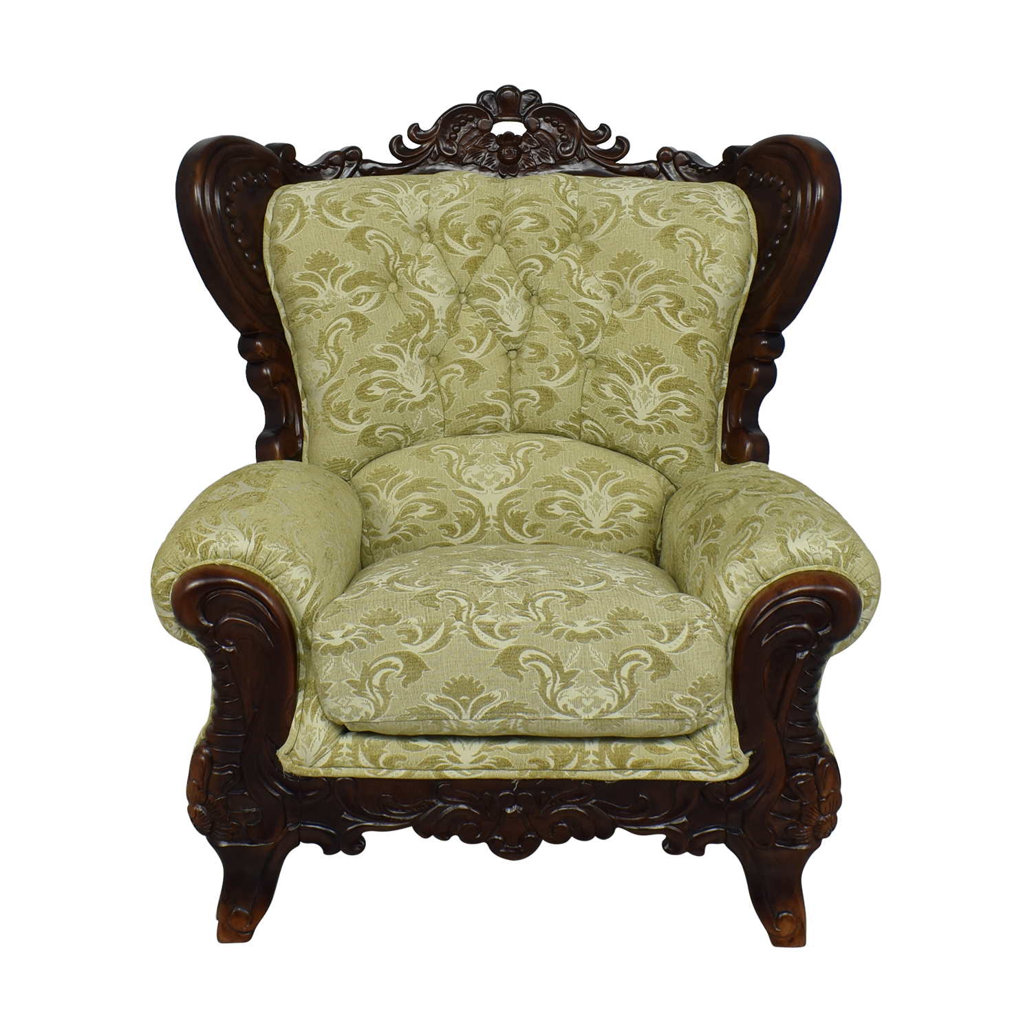 Ethan Allen Ethan Allen Ornate Arm Chair yellow & brown