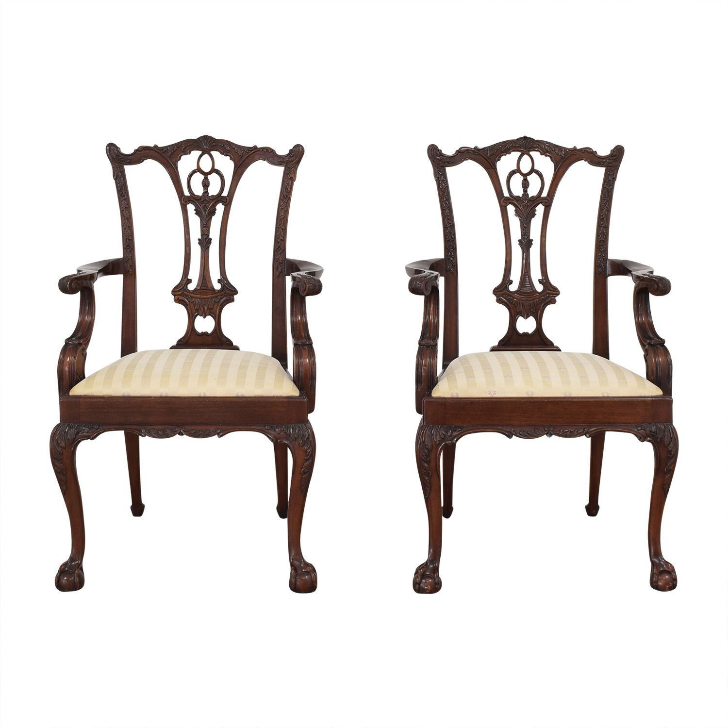 Macy's Hickory Furniture Upholstered Dining Chairs brown & beige