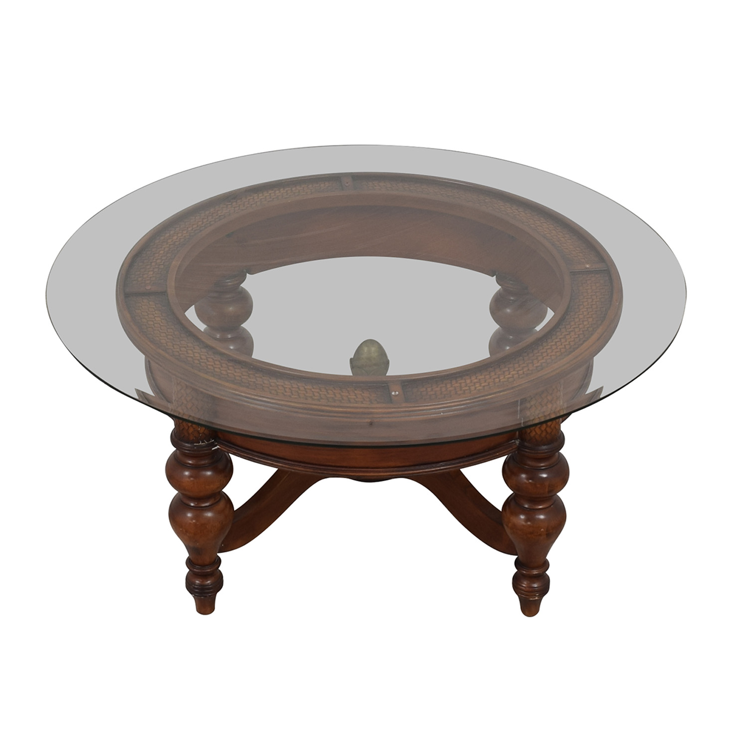 Round Coffee Table with Transparent Surface
