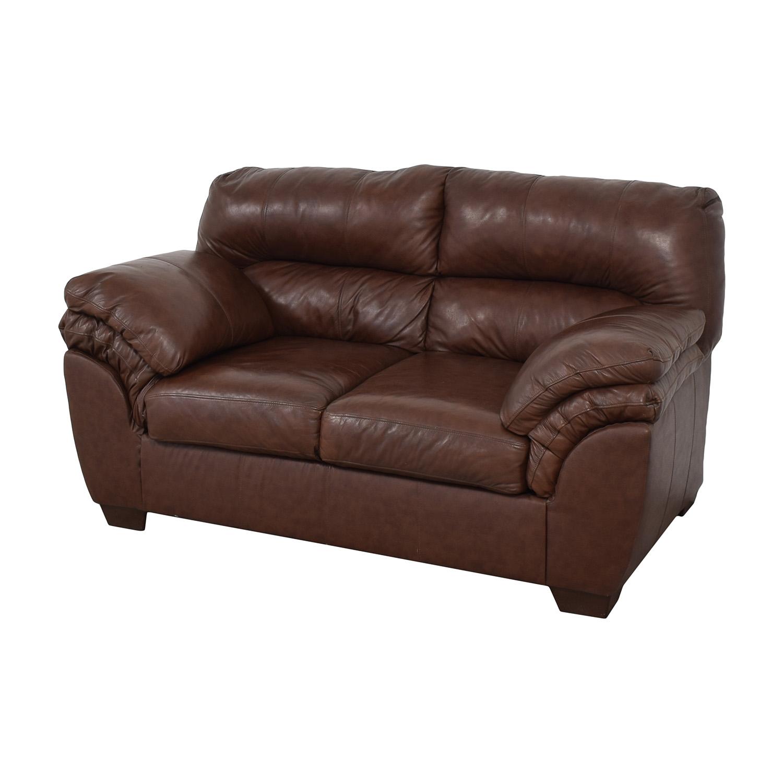 Ashley Furniture Ashley Furniture Overstuffed Loveseat dark brown