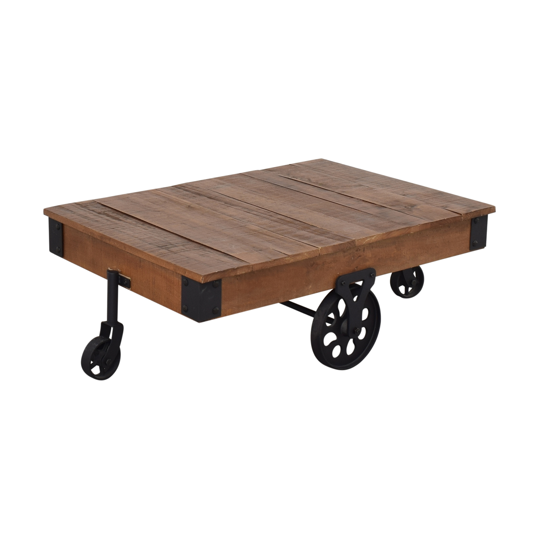 shop  Rustic Distressed Wheel Coffee Table online