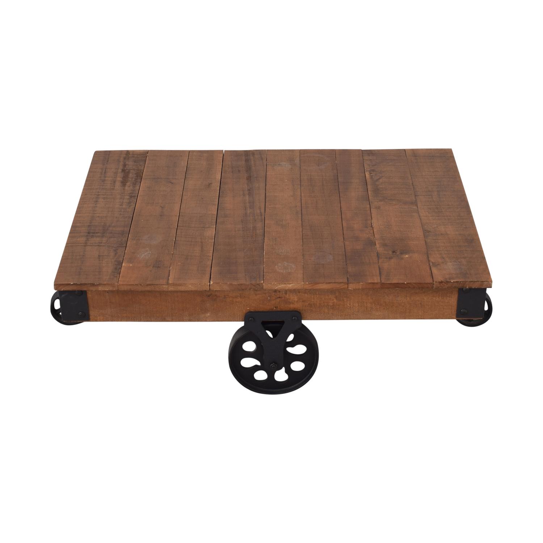 buy Rustic Distressed Wheel Coffee Table