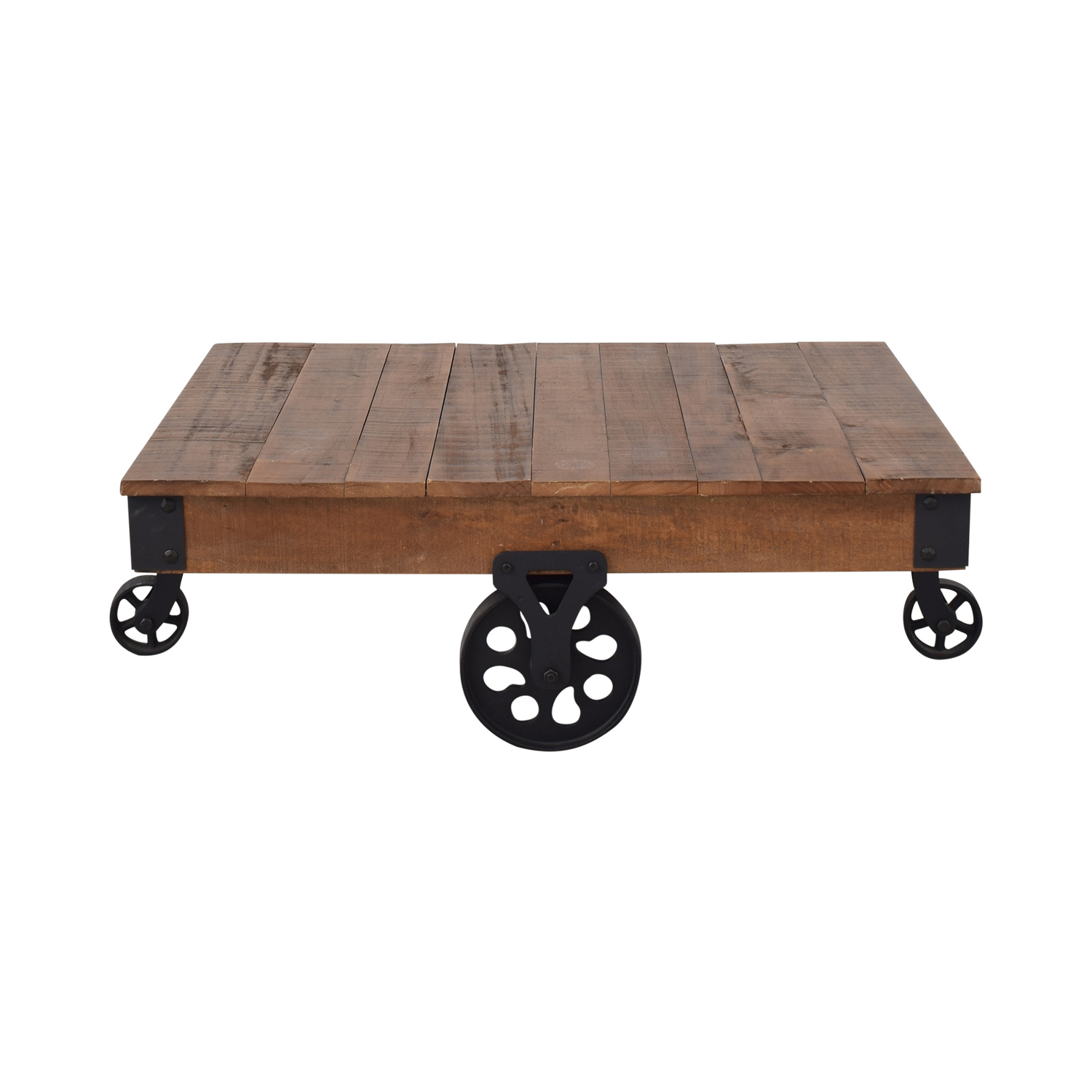 Rustic Distressed Wheel Coffee Table Tables