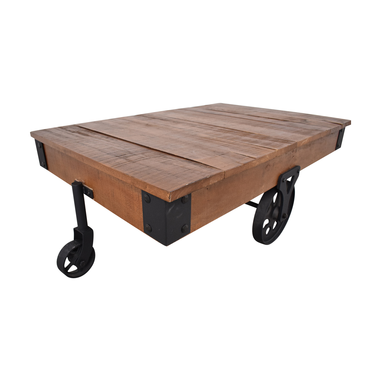 Rustic Distressed Wheel Coffee Table discount