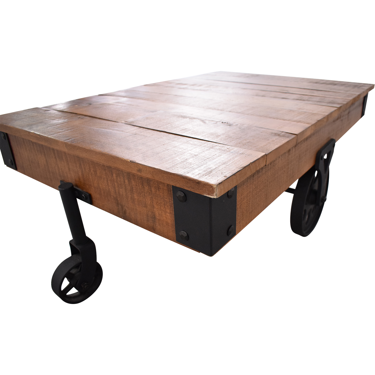 Rustic Distressed Wheel Coffee Table / Coffee Tables