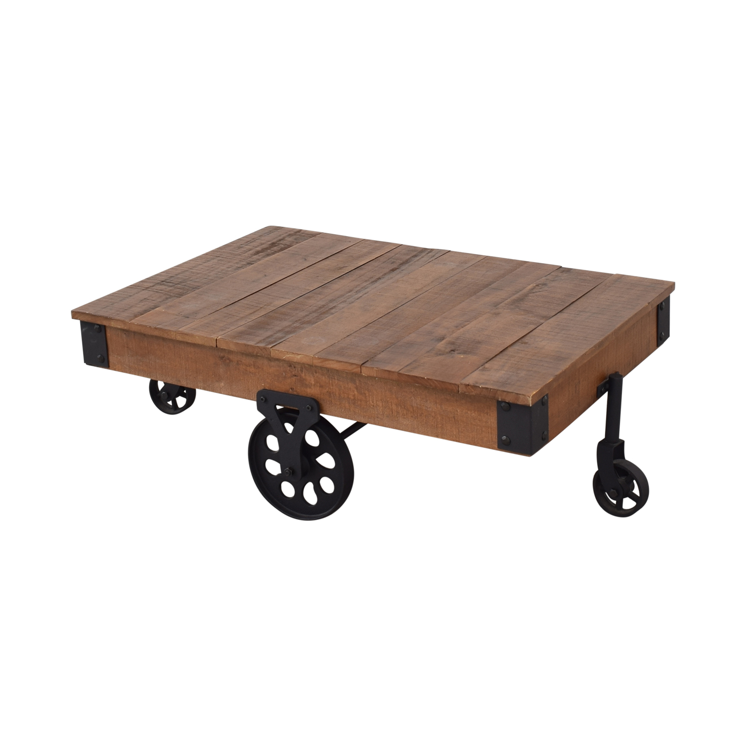 Rustic Distressed Wheel Coffee Table / Tables