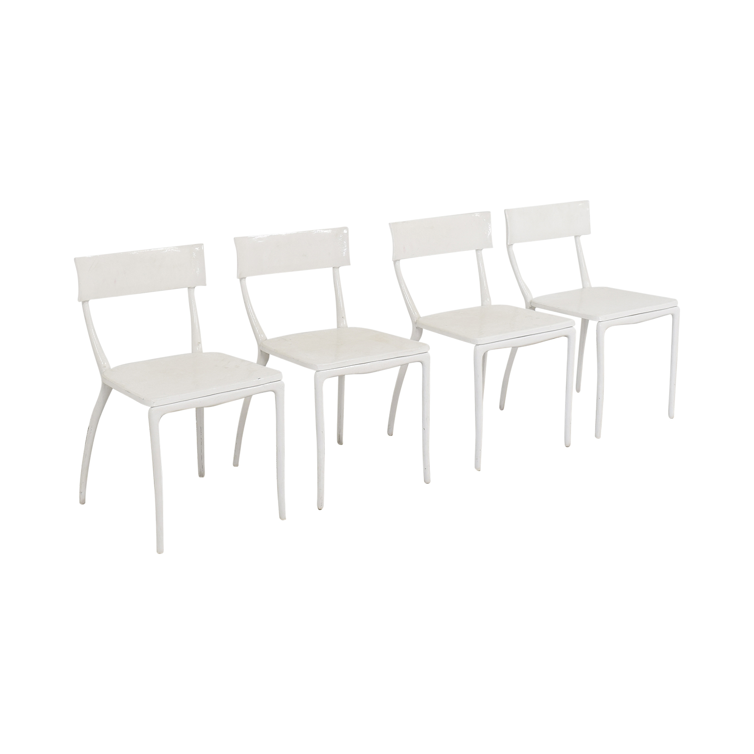 CB2 CB2 Midas White Dining Chairs second hand