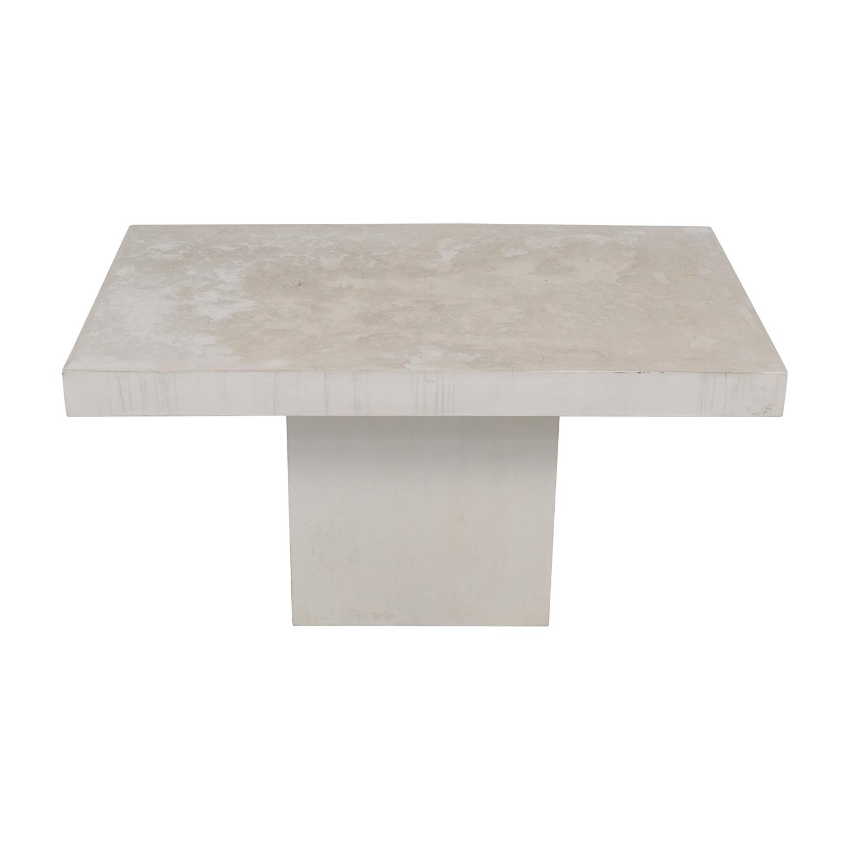 buy CB2 Fuze Ivory White Stone Dining Table CB2 Dinner Tables