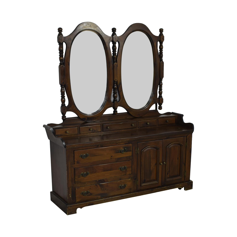 Bennington Pine Bennington Pine Dresser with Twin Mirrors Storage