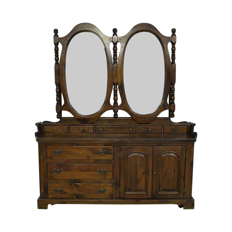 Bennington Pine Bennington Pine Dresser with Twin Mirrors dimensions