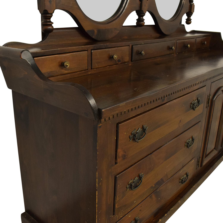 Bennington Pine Dresser with Twin Mirrors / Storage