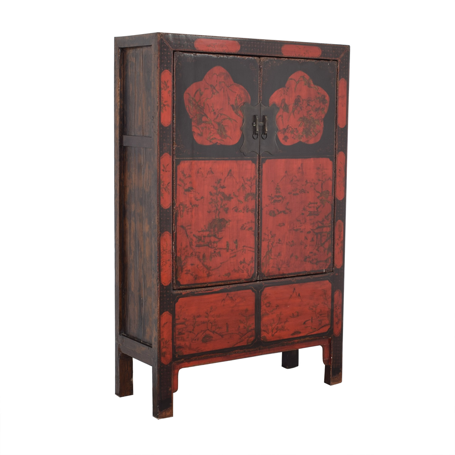 Antique Red Lacquered Chinese Armoire