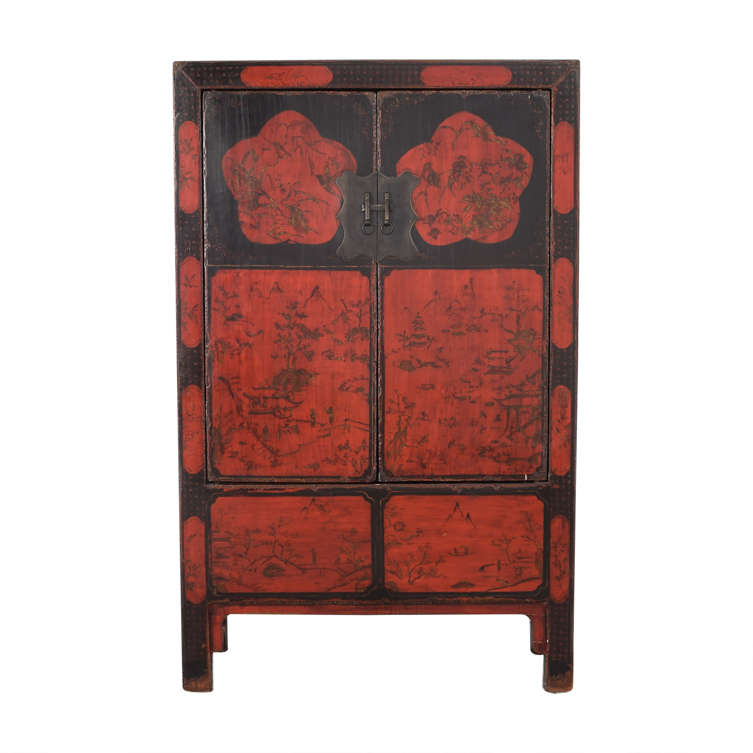 buy  Antique Red Lacquered Chinese Armoire online