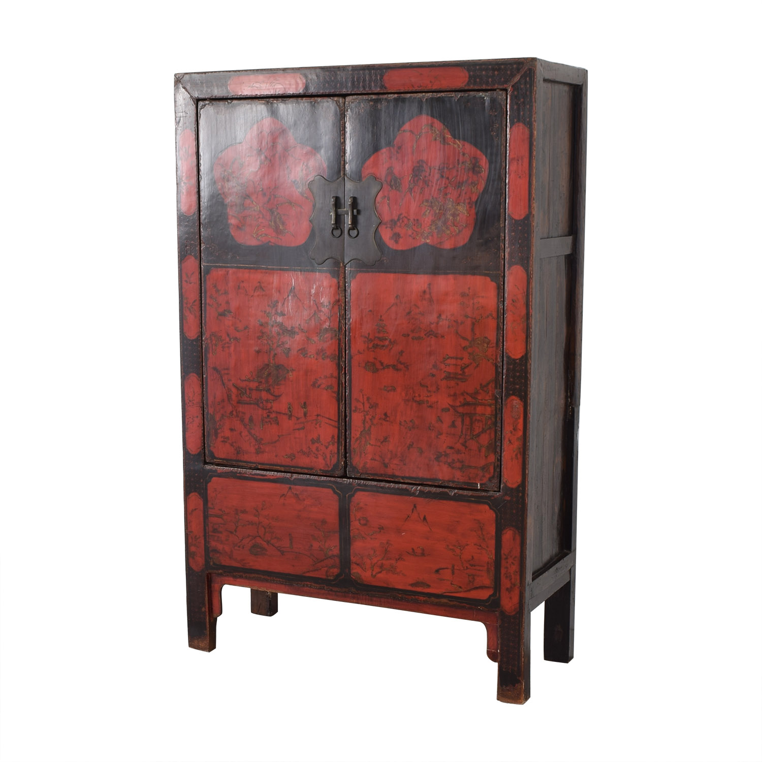 Antique Red Lacquered Chinese Armoire Storage