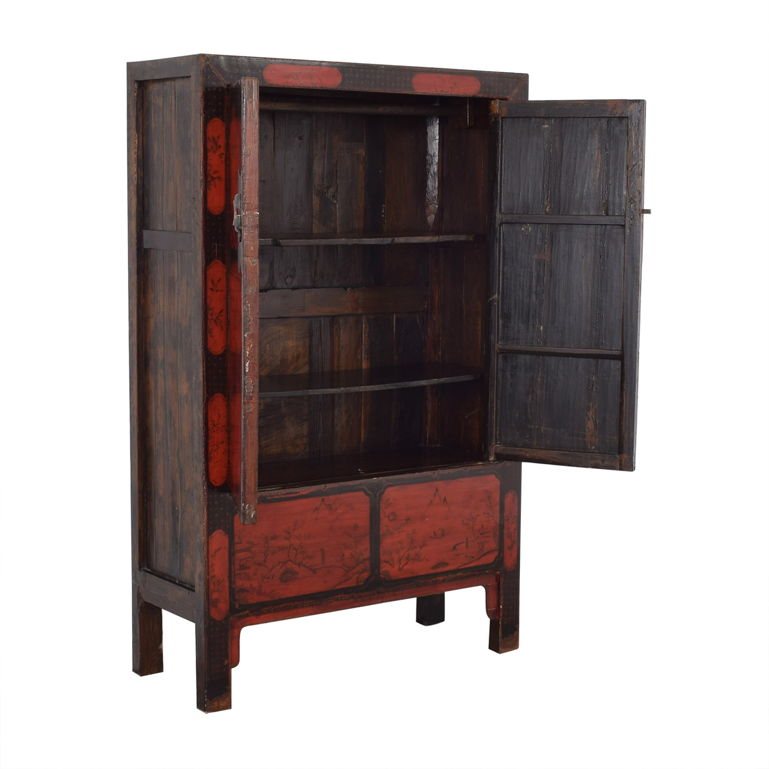 Antique Red Lacquered Chinese Armoire / Wardrobes & Armoires