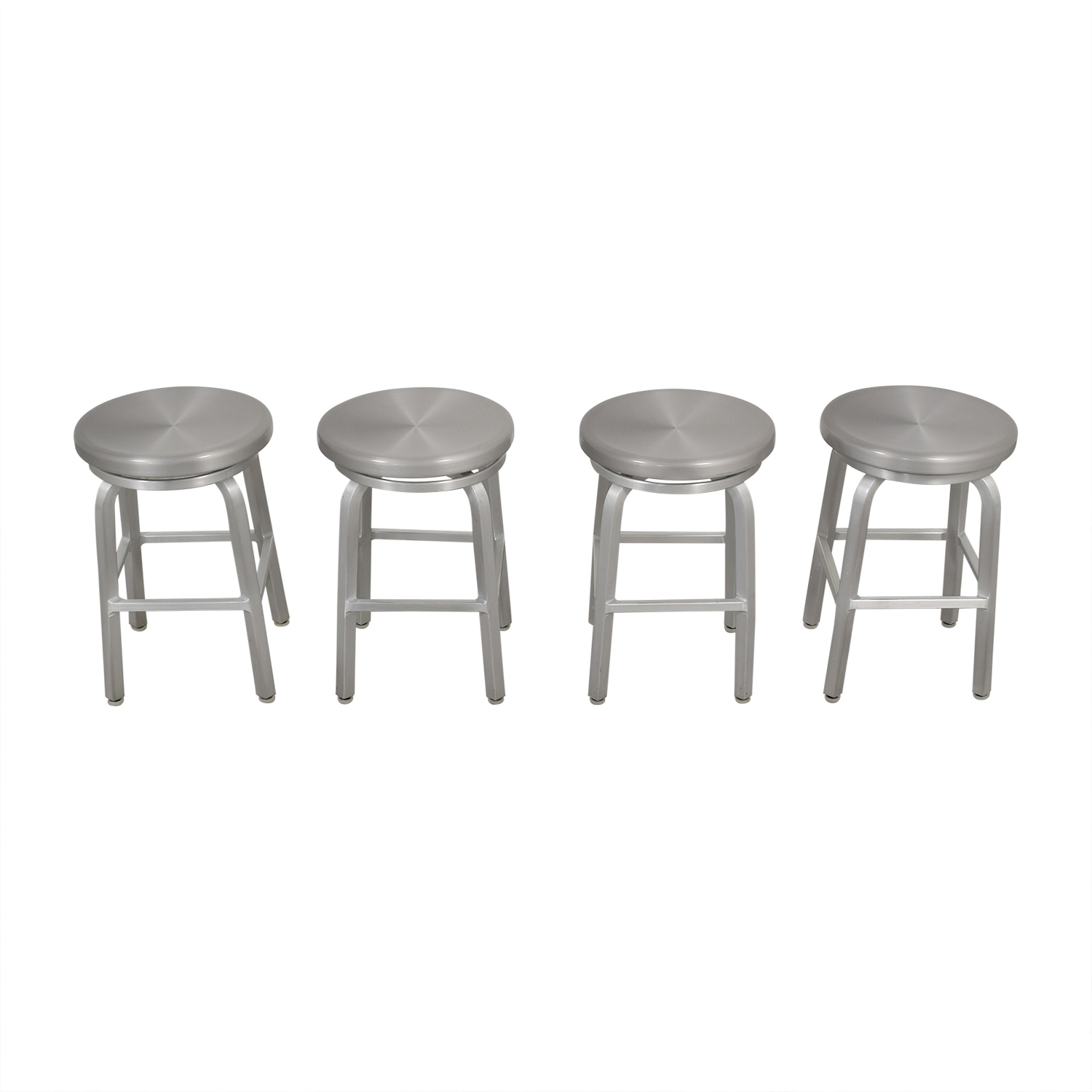 Crate & Barrel Crate & Barrel Spin Swivel Backless Counter Stool silver
