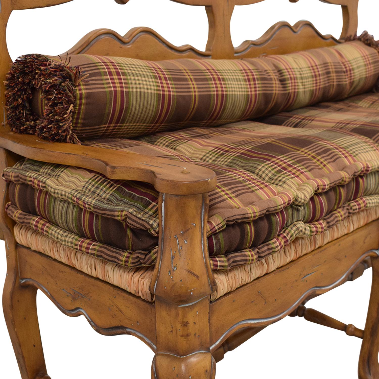 Vintage Plaid Cushion Bench