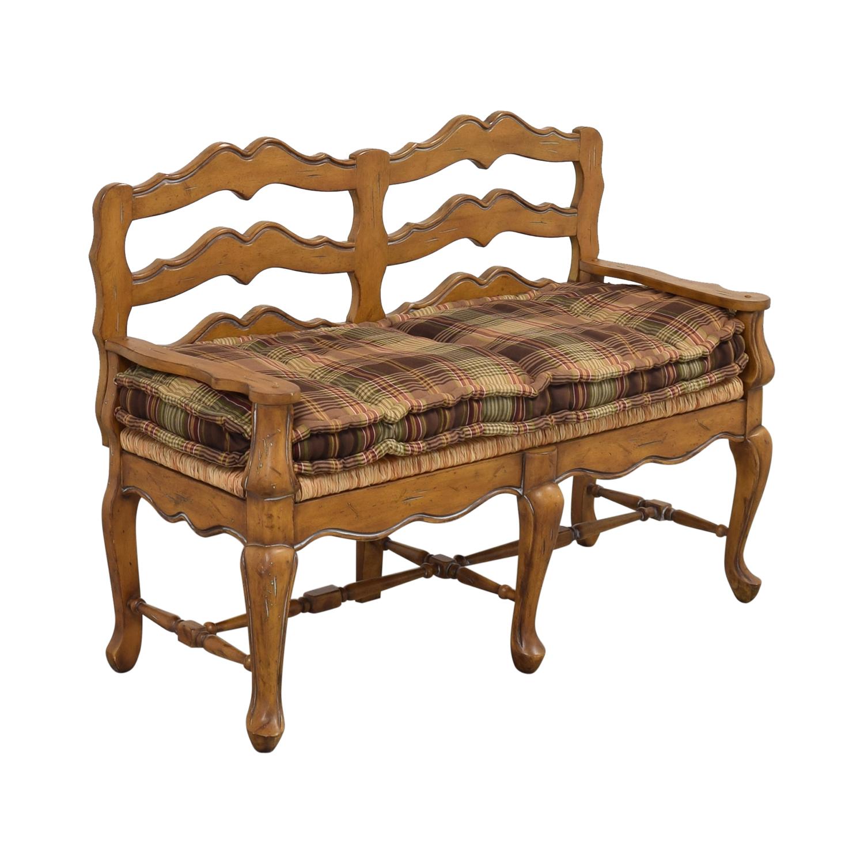 Vintage Plaid Cushion Bench second hand