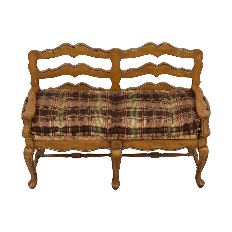 Vintage Plaid Cushion Bench ct