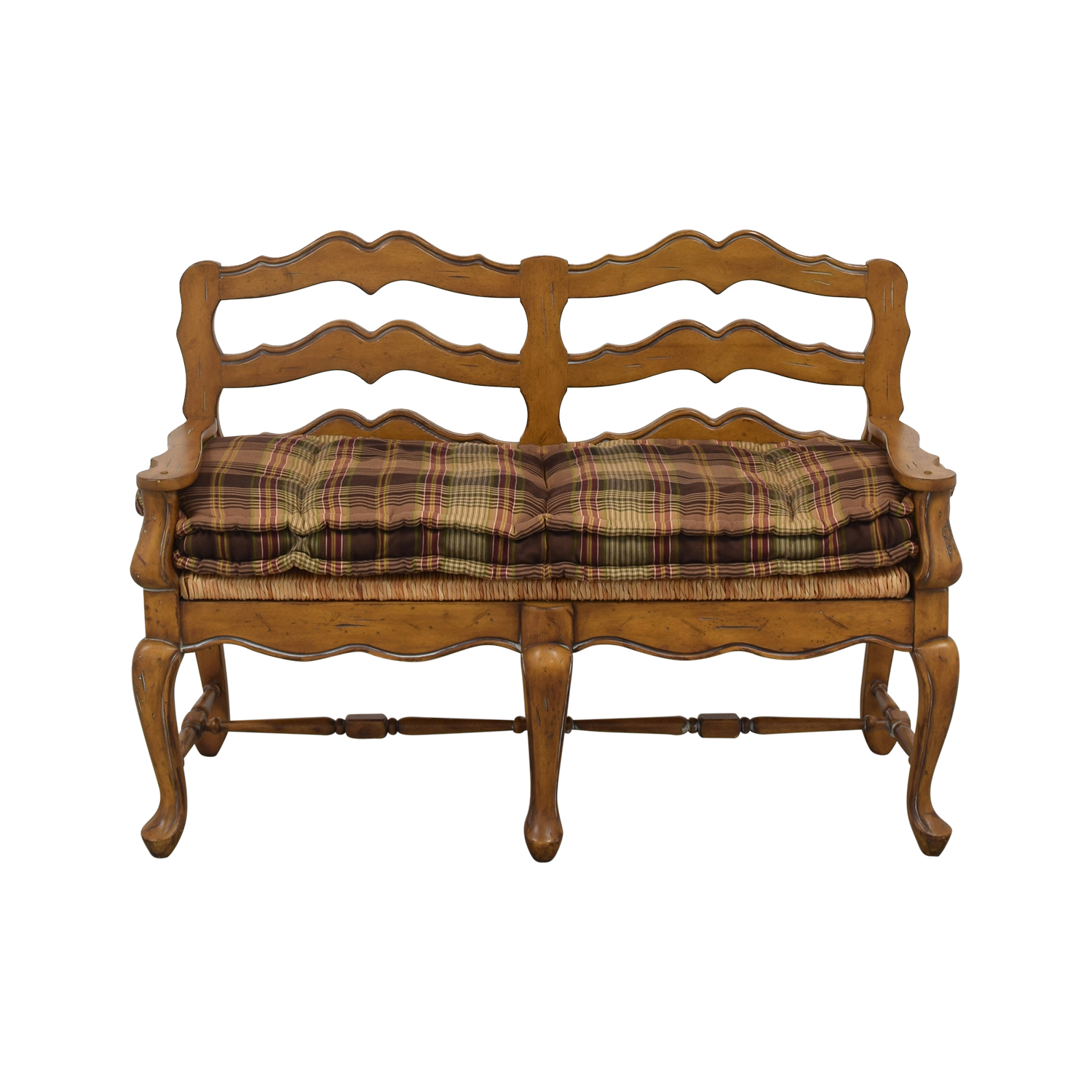 Vintage Plaid Cushion Bench used