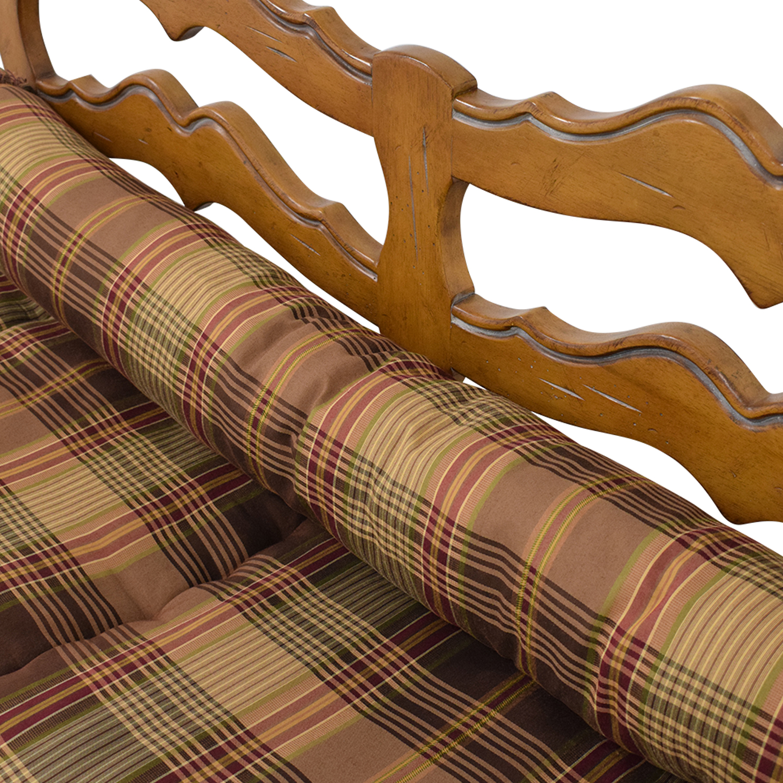 Vintage Plaid Cushion Bench on sale
