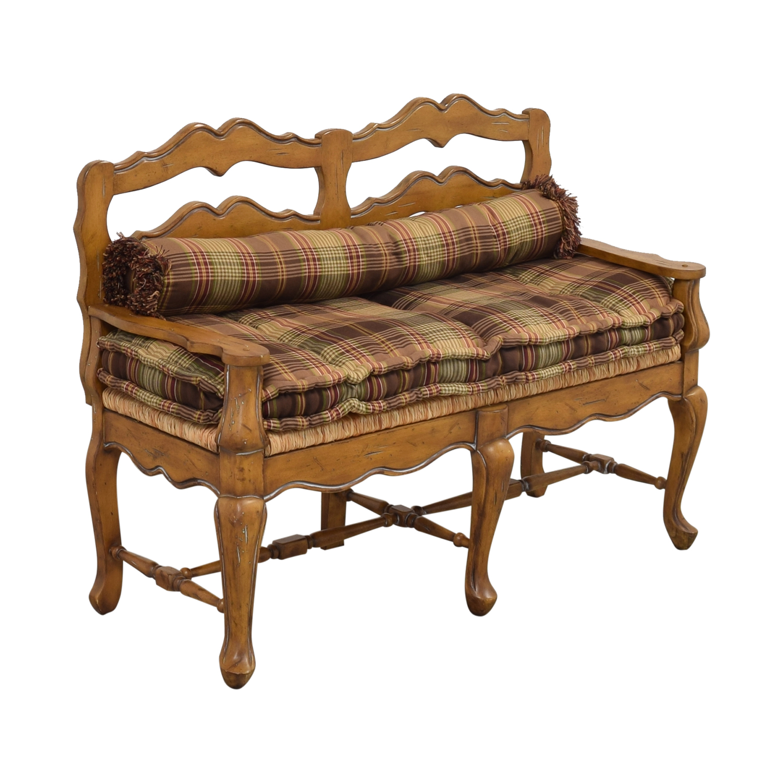 Vintage Plaid Cushion Bench ma