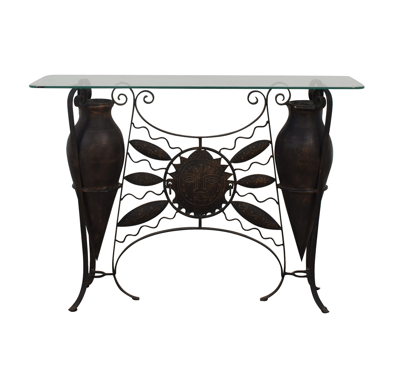 Glass Console Table dark brown