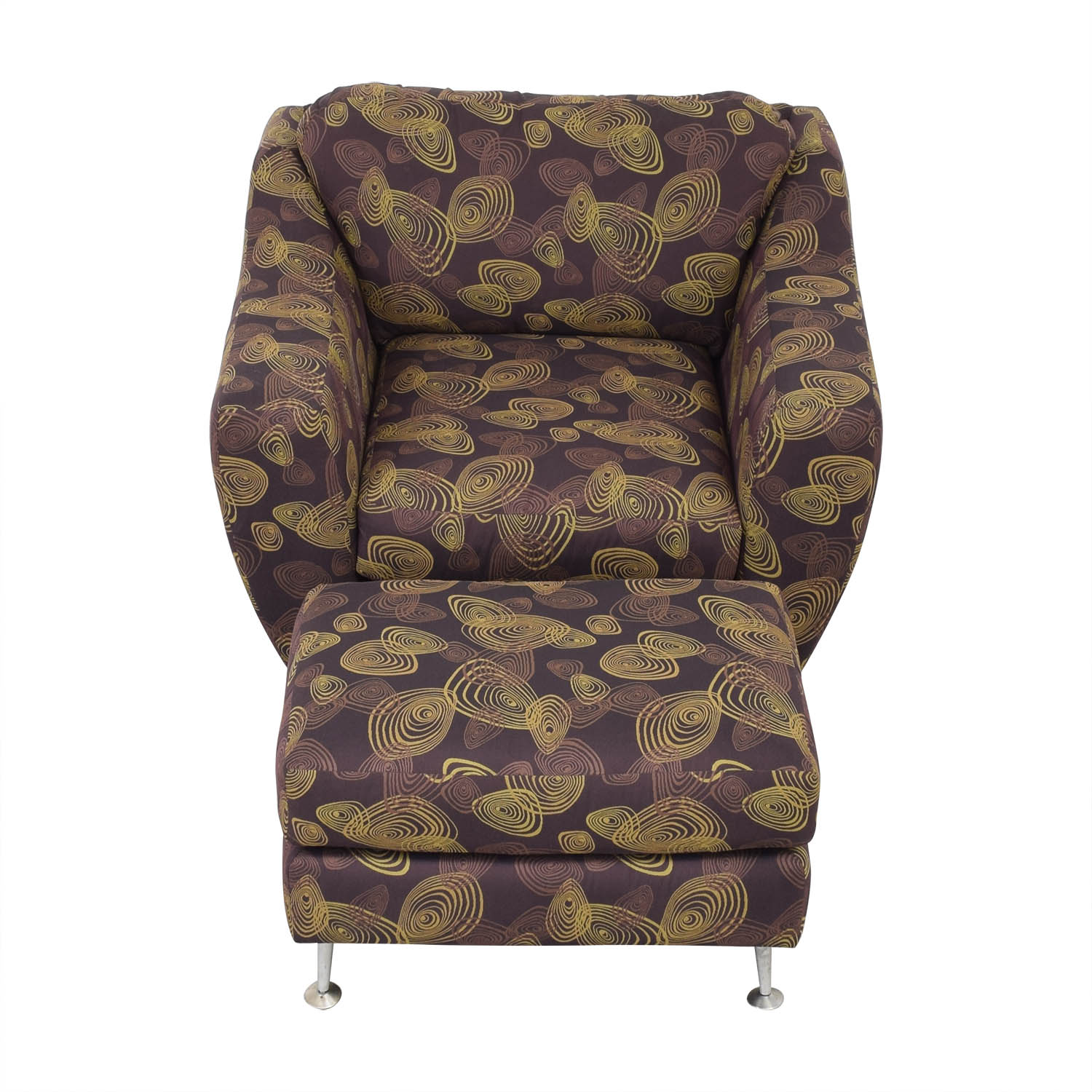Carter Furniture Carter Accent Chair and Ottoman dark brown and gold