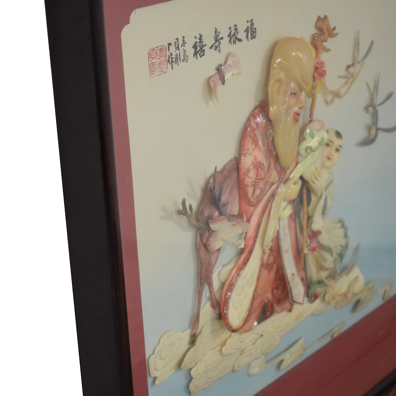 shop  Vintage Chinese Handmade Longevity Picture with Sea Shells online
