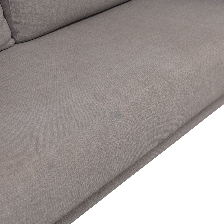 CB2 Tandom Microgrid Grey Sleeper Sofa / Sofa Beds